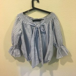 Chicwish Tops - Chicwish blue and white striped blouse